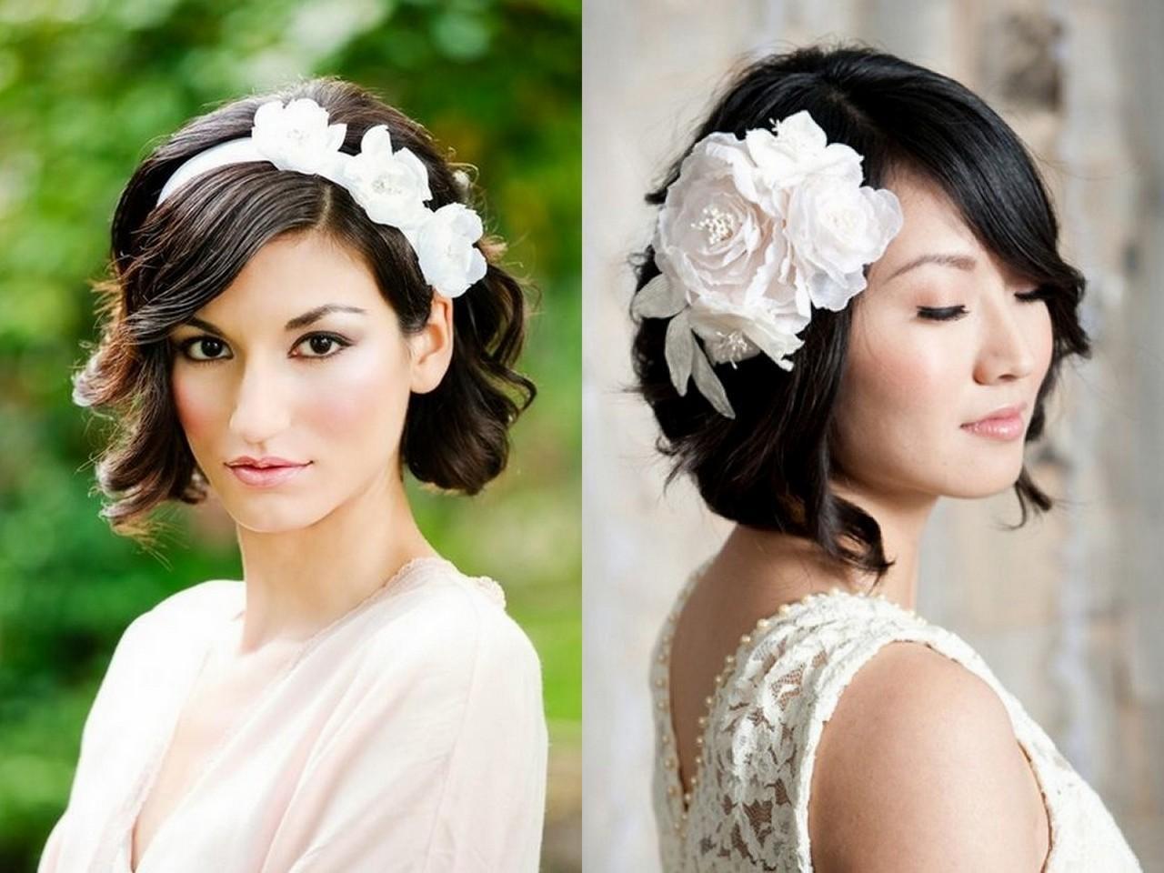 Прически свадебные на короткие волосы темные
