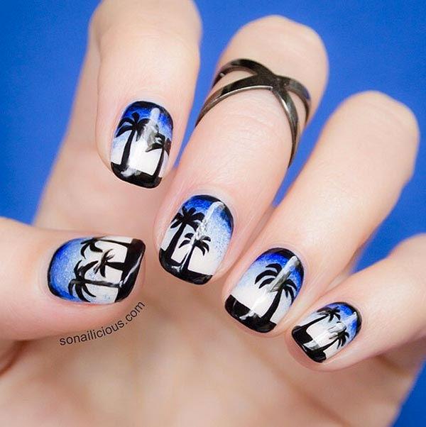 Морской рисунок на ногтях фото