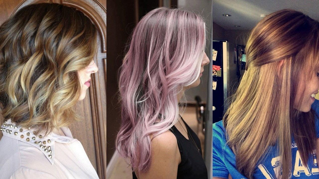Цветное колорирование на русые волосы