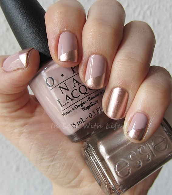 Gold-and-Beige-Wedding-Nail-Idea